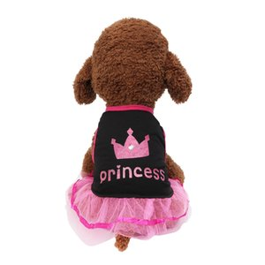 Breathable Pet Dog Skirt Summer 2019 Casual Elegant Crown Printed Lace Princess Dog Dresses For Small Dogs Vestidos Para Perras