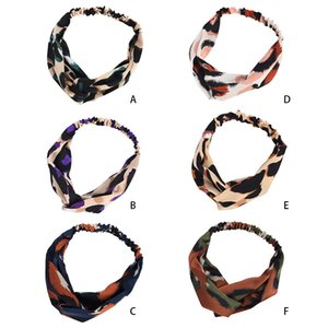Women Girls Hair Accessories Fashion Headband Fabric Cross Boho Leopard Twist Knot Elastic Wrap Turban Hair Band Sport Girls