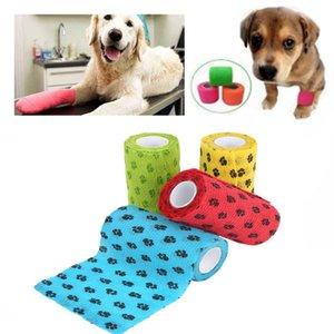 Ayak İzi Dekor Desen Kendinden yapışkanlı Elastik Bandaj Pet Köpek Malzemeleri ile Kumaş Nefes Yırtılma Pet Bandaj Dokumasız