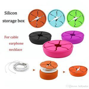 capa de silicone universal mini-cabos portáteis ouvido dobráveis protetor colar portátil saco caixa de armazenamento de auscultadores bolsa de transporte