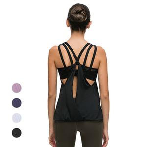 2020 Yeni Kadın strappy Geri Yoga Tankı Dahili Sütyen Kolsuz Gym Egzersiz Gömlek Spor Giyim Spor Activewear Koşu Wear ile Tops