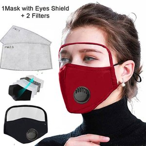 DHL Shipping 2 in 1 Face Shield Mask With Breathe Valve Plastic Screen Full Face Protection Isolation Masks Anti-fog Protective Mask X263FZ