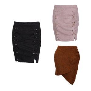 Frauen mit hohen Taille Lace Up Veloursleder-Taschen-Preppy Fashion Show Thin Short Mini-Röcke 3 Stil Outfit Herbst Winter