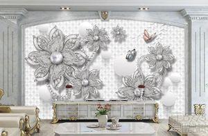 Papel tapiz fotográfico personalizado Murales 3D Estereoscópico Estereoscópico 3D Joyería Flor de TV Fondo de pared Sala de estar Fondo de TV Papeles de pared Decoración para el hogar