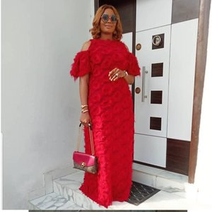 New African Dresses for Women Fashion Women's Round Neck Off-the-shoulder Short-sleeved Special Fur Fabric Loose Dress