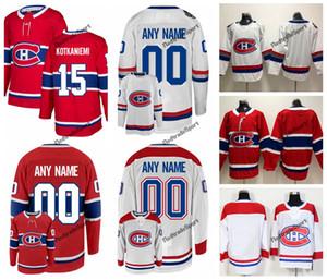 2018 Montreal Canadiens 100th Classic Jesperi Kotkaniemi 하키 유니폼 맞춤 홈 레드 # 15 Jesperi Kotkaniemi 스티치 셔츠 S-XXXL