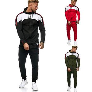 Pocket Hiver Hommes Automne Sweatshirts Top Pantalons Ensembles Patchwork Survêtements Sport Costume Homme Slim Fit Survêtements