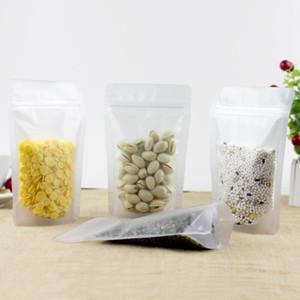 100pcs fosco translúcido transparente em pé pacote zip lock pack saco transparente anti-umidade plástico poli embalagem com zíper saco bolsa