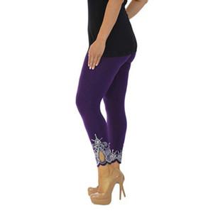 Casual Leggings Mulheres da aptidão Leggings 4 cores Outono Inverno Workout calças Chegada nova malha Lace Leggings