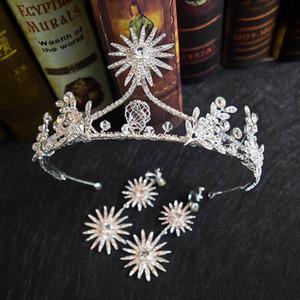 Prinzessin Stern Bling Bling Braut Kristall Krone Ohrringe Set Delicate Königin Kirche Hochzeit Kopfschmuck Frauen Party Schmuck Sets