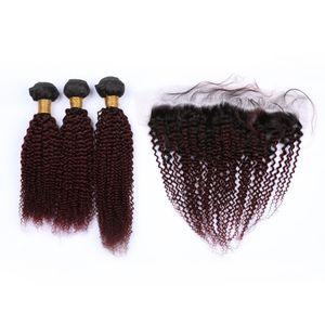 Бразильские Два Ombre Связка человеческих волос с Фронтальной Закрытие завитых # 1B / 99J Burgundy Ombre 13x4 полного шнурок с фронтальными переплетениями