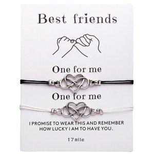 heap Charm Bracelets 2pcs set Infinity Love Heart Charms Bracelet For Women Girls Lucky String Rope Friendship Bracelets Minimalist Jewel...