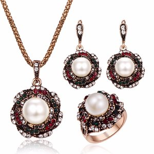 3pcs / Set Vintage Pearl Jewels Sets For Women Antique Gold Multicolor Crystal Flower Pendant Rains Arrings Set