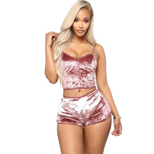 Sexy Sling Crop camisoles Tops Kit Short Velvet 3 Couleur Femmes Costume Lingerie de nuit Pyjama Vêtements Hot Set Vente 27my E19