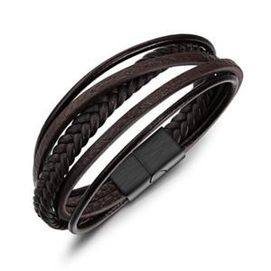 heiß hohe Qualität dünne PU-Leder Edelstahl-Armband-Mann Armband 2018 neues Geschenk präsentiert Mode für Jungen