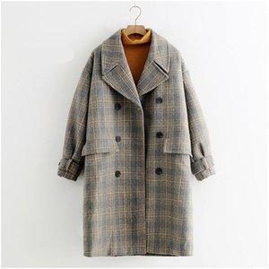 Heiße hochwertige Mode minimalistischen neuen Winter Fräulein Han Edition Plaid Wollmantel Jacke und langen Abschnitten Mantel