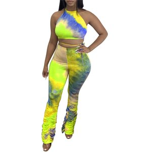 Sexy Die Tye Womens Tracksuits Stacked Hollow Out Two Piece Set Halter Bandage Womens Two Piece Pants