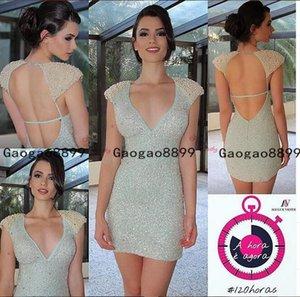 2019 sexy short Prom Dresses deep v neck evening formal gowns custom made backless beaded pearls custom made bridesmaid dresses