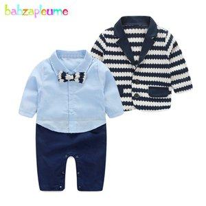2PCS 0-24Months Spring Autumn Newborn Clothing Sets Stripe Jacket+Gentleman Suit Infant Jumpsuit Baby Outfit Boys Clothes BC1157 T200706