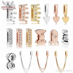 % 100 925 Gümüş Reflexions kalp kolye Klip Charms yay boncuklar Fit Bilezik Orijinal DIY yapımı boncuk emniyet zinciri cazibesi gül parlayacak