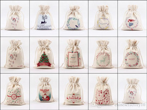DHL Christmas Gift Bag Canvas Drawstring Papai Noel para presentes Candy Sack Bags 14 Designs EM ESTOQUE!