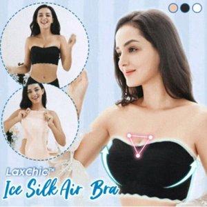 Women Ice Silk Air Bra Summer Strapless Bustier Bra Tank Femme Crop Top Camisole Women's Ice Silk Stretchy Tube Tops #BL2