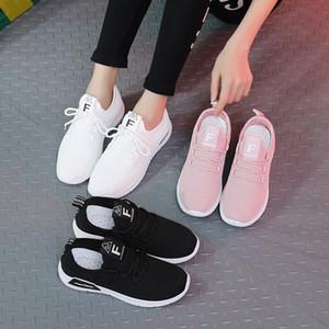 scarpe da corsa transfrontaliera grandi le scarpe da tennis delle donne volare tessitura piccole scarpe bianche da donna versatile fondo piatto scarpe casual Lace Up coreana