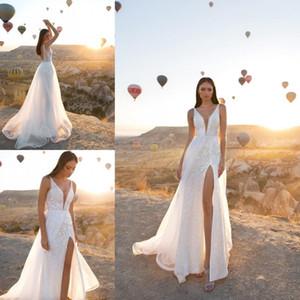 2020 Eva Lendel Dernières Robes de mariée col en V Backless sans manches en dentelle Applique Bohême Cuissardes Slits Robes de mariée une robe de mariage en ligne