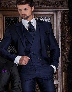 Красивый жених Notch отворот жениха смокинги мужское свадебное платье мужской пиджак пиджак выпускного вечера костюм из 3 частей (куртка + брюки + галстук + жилет) B31