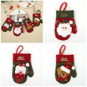 Neueste Handschuhe Shaped Snowman Elk Weihnachtsmann Taschen-Halter-Taschen für Bestecke Geschirr Weihnachtsweihnachts Dekor für Besteck Set Geschenk-Beutel