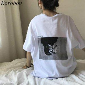 Korobov Harajuku Летние рубашки Урожай с принтом топы с коротким рукавом О-образным вырезом Футболка Fashion Причинная белая рубашка 274 C19041702