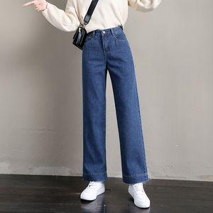 S-5XL Artı boyutu Boyfriend Style Kadın Jeans Sonbahar Kış Koreli Basit BF Yüksek Bel Kot Gevşek Düz Femme Cepler