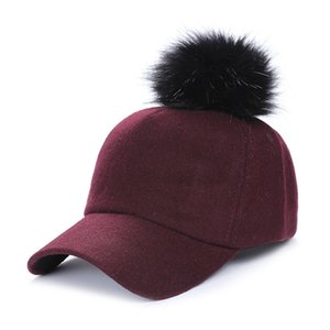 Women Winter Hat Big Raccon Fur Pom Pom Baseball Cap For Girl Hip-Hop Keep Warm Visor Cap Women Thick Warm Snapback Hat