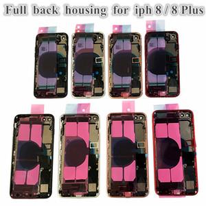 iPhone 8G 8 Artı Tam Arka Pil Kapı Konut Orta Çerçeve Paneli Kapak Montaj + Logo küçük parçalar Flex Kablo Yedek Parça için 5Pcs