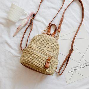 Tasarımcı-Straw Sırt Kadınlar Küçük Okul çantaları için Kızlar Genç Sırt Çantası Kadın Plaj Mini Omuz Çantaları Dokuma Çantası Rattan