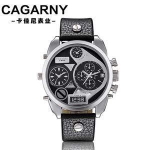 Cagarny grand cadran montre à quartz grand cadran boutique en ligne pour hommes hommes créatifs temps double tendance montre de la ceinture de zone