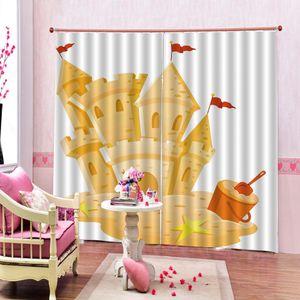 Custom Cartoon Ocean Wooden Boats Curtain Digital Print For Children's room Bedroom red flag Blackout Window Drapes Decor Sets