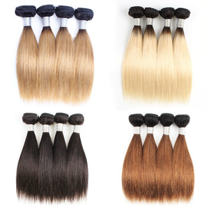 4 Bundles Indian Human Hair Weave Bundles 50 g / pc droite brun foncé 1B 613 T 1b 27 Ombre Honey Blonde court de style Bob