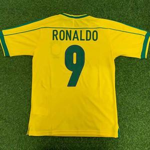 Top 1998 BRASIL RETRO CLASSIC RONALDO RONALDINHO RIVALDO qualità della Tailandia del pullover di calcio delle uniformi di calcio 98 camicia camiseta futbol