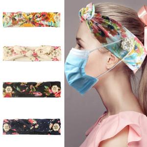 Bow fleur Bandeaux avec le bouton Visage Masque Contour d'oreille Bandeaux oreille Longe élastique Tenir Bandeau impression pour les filles HHA11328