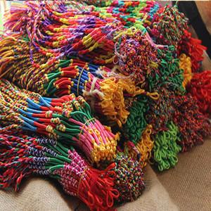 민족 다채로운 여성 브레이드 코드 가닥 팔찌 짠 가닥 수제 꼰 문자열 체인 팔찌 여자 패션 DIY 보석 대량