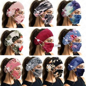 D8503 Face Mask Holder Headbands With Sports Hairband Tie Women Printed Bands Floral Face Masks Dye Elastic Hair Accessories Button DHL Klbm