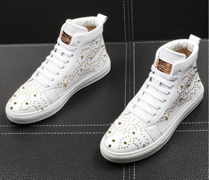 New arrival rivet Genuine leather Sneakers luxury men casual shoes White high-tops men's shoes youth men high-tops sneakers trainers