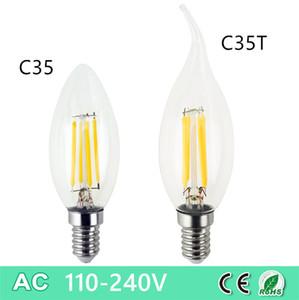 Bulbo de la vendimia retore regulable E14 E12 B22 C35 2W 4W LED lámpara de luz de la vela filamento de la lámpara de cristal claro para 110V Iglesia Decoración