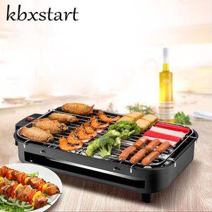 KBXStart Portátil Sin humo Parrilla eléctrica Hot Dog Churrasqueira Eletrica Korean Rotisserie Rotating Barbecue Motor Equipments
