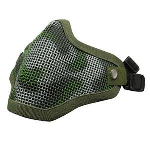Mezza faccia metal mesh Maks resistente all'usura Camouflage Mezza maschera Resistente agli urti Resistenza Ourdoor 17 5js BB