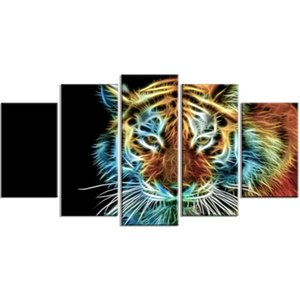 5 Pcs Luminescence Tiger Animal Home Decoration Hd Prints Painting Picture Wall Art Modular Canvas Modern Poster For Living Room