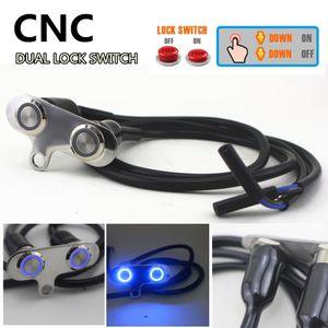 Universal Motorrad Scheinwerfer Hazard Nebelscheinwerfer ON / OFF Lenker Dual-Tasten-Schalter CNC IP65 Manual-Return Lock-Schalter