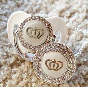 MIYOCAR plata 11 del color corona de Bling bling del oro chupete y el chupete clip de BPA libre ficticia GCR2-1 diseño único