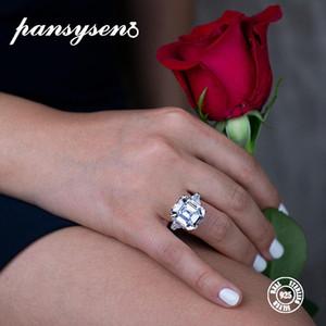 PANSYSEN Lüks Big Moissanite Taş Düğün Nişan yüzükleri Kadınlar% 100 Gerçek 925 Gümüş Güzel Takı Boyutu 5-12 İçin